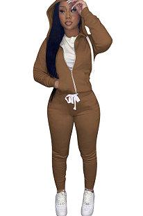 Brown Euramerican Women Pure Color Skinny Drawstring Cradigan Hooded Fleece Bodycon Pants Sets XQ1152-9