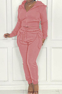 Pink Red Women Hooded Zipper Pure Color Casual Pants Sets QHH8666-5