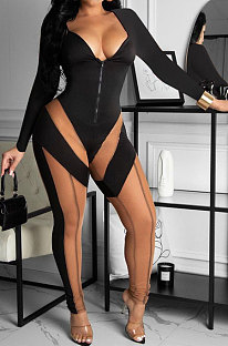 Black Euramerican Women Fashion Spliced Mesh Spaghetti Perspectivity Zipper Bodycon Jumpsuits BYQ1029