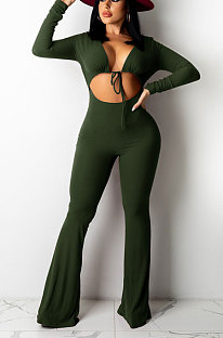 Army Green Women Solid Color Ribber Tied Crop High Waist TinyFlared Bodycon Jumpsuits Q971-3
