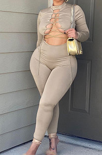 Apricot Women Long Sleeve Solid Color Round Collar Chain Cross Hollow Out  Bodycon Jumpsuits BYQ1027-3