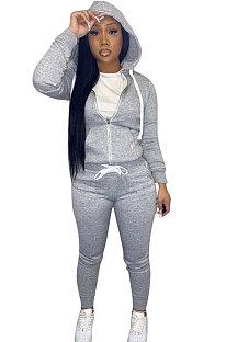 Gray Euramerican Women Pure Color Skinny Drawstring Cradigan Hooded Fleece Bodycon Pants Sets XQ1152-5