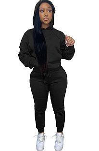 Black Women Autumn Winter Pure Color Hooded Fleece Pullover Casual Pants Sets Q972-3