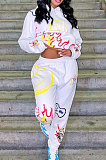 White Women Trendy Hooded Fleece Pullover Positioning Printing Pats Sets LSZ91188-1