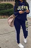 Navy Blue Women Pullover Fleece Half Turtle Neck Irregular Pants Sets LD8483-3