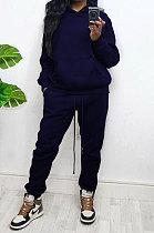 Blue Women Autumn Winter Wool Hooded Fleece Solid Color Casual Sport Pants Sets MR2127-3