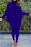 Blue Women Fashion Casual Letters Printing Batwing Sleeve Split Split Ribber Pants Sets MR2126-6
