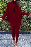 Pink Women Fashion Casual Letters Printing Batwing Sleeve Split Split Ribber Pants Sets MR2126-1