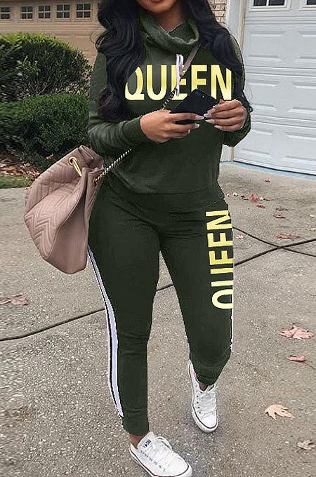 Army Green Women Pullover Fleece Half Turtle Neck Irregular Pants Sets LD8483-4