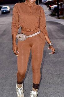 Khaki Women Long Sleeve Trendy Casual Pure Color High Elastic Pants Sets MR2128-3