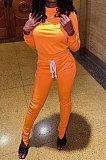 Pink Euramerican Women Solid Color Long Sleeve Split Pants Sets KXL862-2
