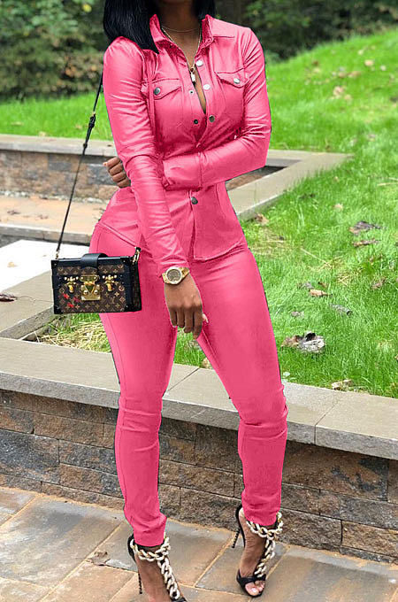 Pink Women PU Leather Long Sleeve Pure Color Cardigan Pencil Pants Sets LD8226-2