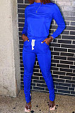 Peacock Blue Euramerican Women Solid Color Long Sleeve Split Pants Sets KXL862-4
