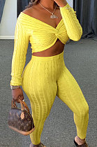 Yellow Women Kink Tops Solid Color V Collar Sweater Pants Sets MA6610-4