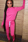 Orange Euramerican Women Solid Color Long Sleeve Split Pants Sets KXL862-3