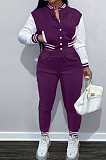 Purple Wholesale Sport Spliced Long Sleeve Single-Breasted Jacket Coat Pantaloons Casual Sets FH176-6