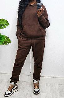 Coffee Women Autumn Winter Wool Hooded Fleece Solid Color Casual Sport Pants Sets MR2127-2