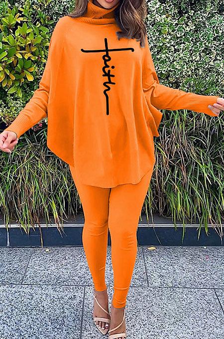 Orange Women Fashion Casual Letters Printing Batwing Sleeve Split Split Ribber Pants Sets MR2126-2