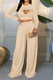 Apricot Women Solid Color Long Sleeve Hollow Out Casual Pants Sets GB8036-2