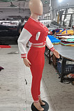 Rose Red Wholesale Sport Spliced Long Sleeve Single-Breasted Jacket Coat Pantaloons Casual Sets FH176-2