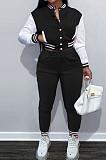 Black Wholesale Sport Spliced Long Sleeve Single-Breasted Jacket Coat Pantaloons Casual Sets FH176-3