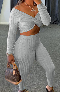 Gray Women Kink Tops Solid Color V Collar Sweater Pants Sets MA6610-3