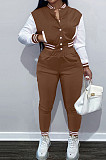 Coffee Wholesale Sport Spliced Long Sleeve Single-Breasted Jacket Coat Pantaloons Casual Sets FH176-7