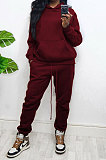 Wine Red Women Autumn Winter Wool Hooded Fleece Solid Color Casual Sport Pants Sets MR2127-4