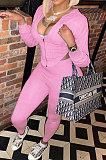 Sky Blue Women Pure Color Sexy Hooded Zipper Irregular Pants Sets KXL861-3