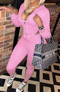 Pink Women Pure Color Sexy Hooded Zipper Irregular Pants Sets KXL861-2