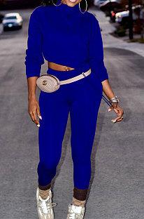 Blue Women Long Sleeve Trendy Casual Pure Color High Elastic Pants Sets MR2128-2
