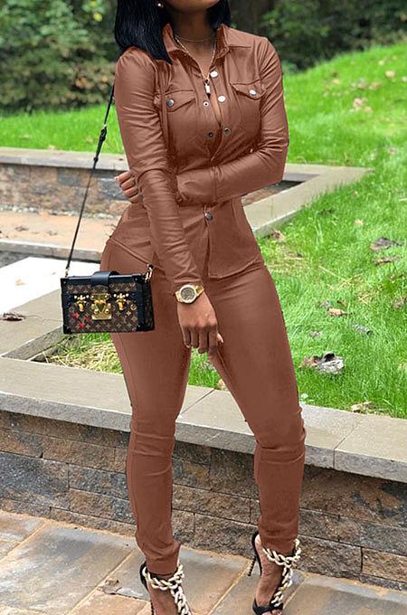 Coffee Women PU Leather Long Sleeve Pure Color Cardigan Pencil Pants Sets LD8226-3