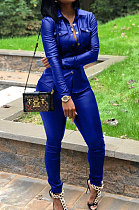 Royal Blue Women PU Leather Long Sleeve Pure Color Cardigan Pencil Pants Sets LD8226-4