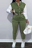 Army Green Wholesale Sport Spliced Long Sleeve Single-Breasted Jacket Coat Pantaloons Casual Sets FH176-8