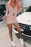 Pink Euramerican Women Sexy Double Zipper Pure Color Short Skirts Sets QMX1015-1