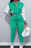 Mint Green Wholesale Sport Spliced Long Sleeve Single-Breasted Jacket Coat Pantaloons Casual Sets FH176-9