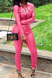 Wine Red Women PU Leather Long Sleeve Pure Color Cardigan Pencil Pants Sets LD8226-5