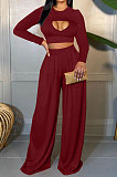 Wine Red Women Solid Color Long Sleeve Hollow Out Casual Pants Sets GB8036-3