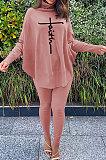Rose Red Women Fashion Casual Letters Printing Batwing Sleeve Split Split Ribber Pants Sets MR2126-5
