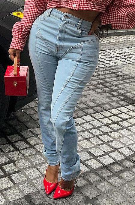 Blue Women Spliced Mid Waist Bodycon Long Pants LD81056