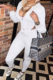 White Women Pure Color Sexy Hooded Zipper Irregular Pants Sets KXL861-1
