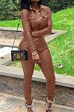 Black Women PU Leather Long Sleeve Pure Color Cardigan Pencil Pants Sets LD8226-1