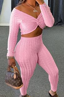 Pink Women Kink Tops Solid Color V Collar Sweater Pants Sets MA6610-5