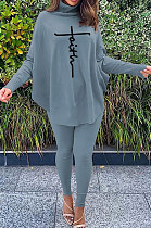 Gray Women Fashion Casual Letters Printing Batwing Sleeve Split Split Ribber Pants Sets MR2126-3