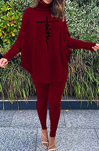 Wine Red Women Fashion Casual Letters Printing Batwing Sleeve Split Split Ribber Pants Sets MR2126-7