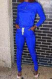 Black Euramerican Women Solid Color Long Sleeve Split Pants Sets KXL862-1