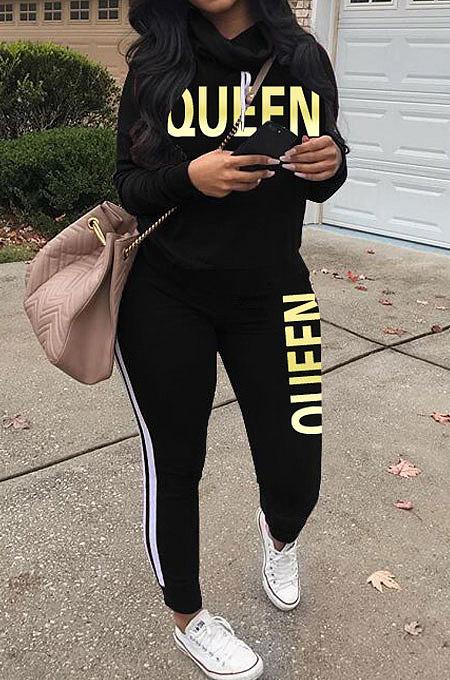 Black Women Pullover Fleece Half Turtle Neck Irregular Pants Sets LD8483-2