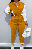 Orange Wholesale Sport Spliced Long Sleeve Single-Breasted Jacket Coat Pantaloons Casual Sets FH176-4