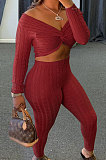 Red Women Kink Tops Solid Color V Collar Sweater Pants Sets MA6610-2