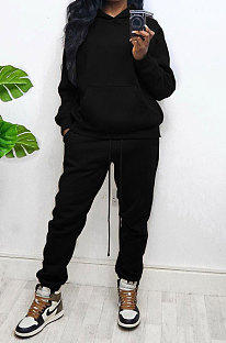 Black Women Autumn Winter Wool Hooded Fleece Solid Color Casual Sport Pants Sets MR2127-1